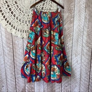 Vintage Western Americana Tiered Maxi Skirt